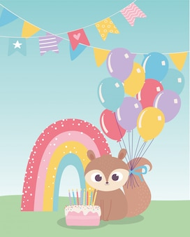 Feliz aniversário, esquilo bonito com bolo balões arco-íris celebração decoração dos desenhos animados