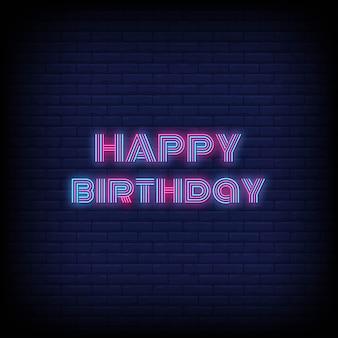 Feliz aniversário estilo neon