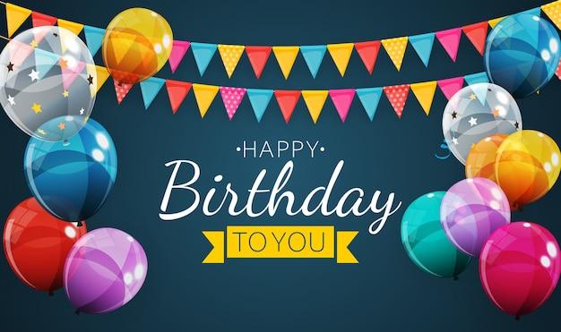 Feliz aniversário feriado festa fundo com bandeiras e balões.