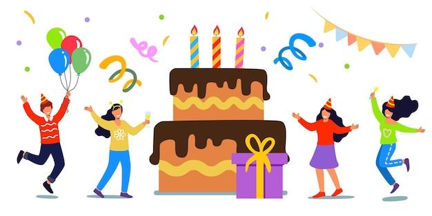 Feliz aniversário festa ilustração vetorial plana conceito com pessoas alegres celebrando