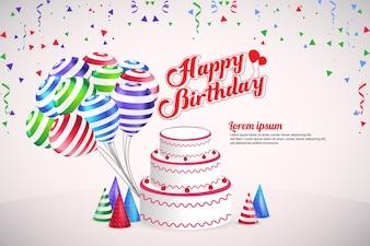 Feliz aniversário festa Vector Design de modelo de fundo