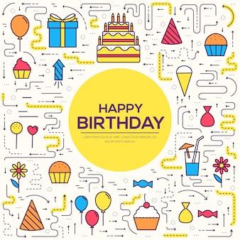 Feliz aniversário festivo com conjunto de confetes. bolo de elementos de festa e celebração, bebidas, presentes.