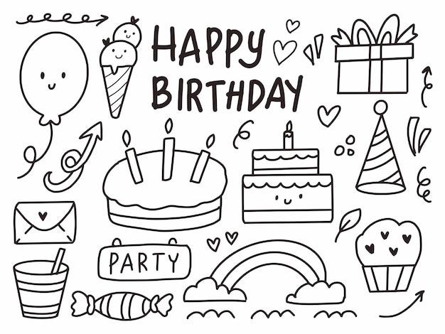 Feliz aniversário fofo doodle cartoon linha arte.