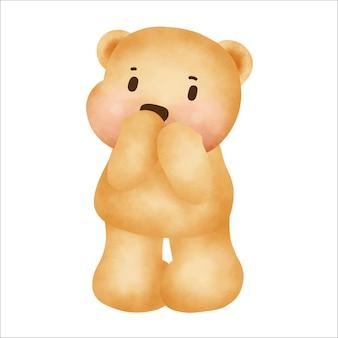 Feliz aniversário fofo urso de pelúcia em um fundo branco.