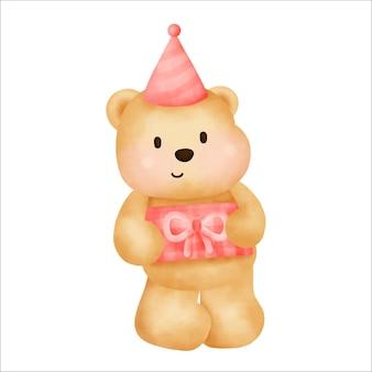 Feliz aniversário fofo urso de pelúcia segurando uma caixa de presente.