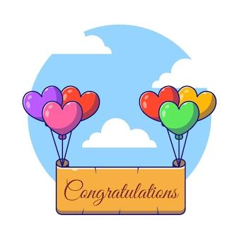 Feliz aniversário fronteira voando com balões ilustração plana dos desenhos animados.