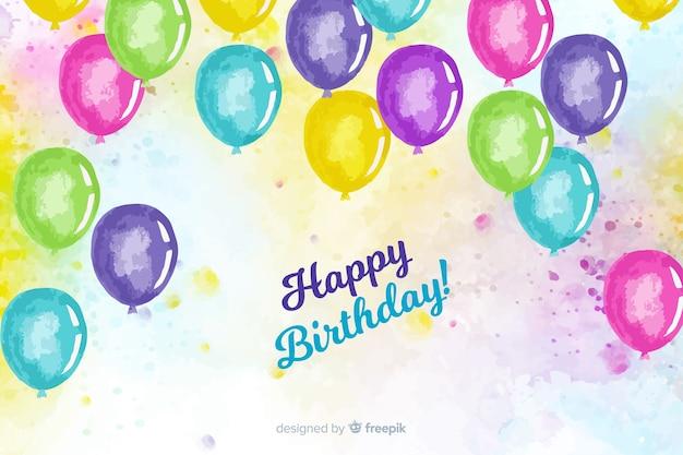 Feliz aniversário fundo aquarela com balões