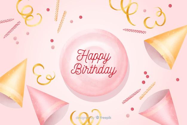 Feliz aniversário fundo aquarela com confete
