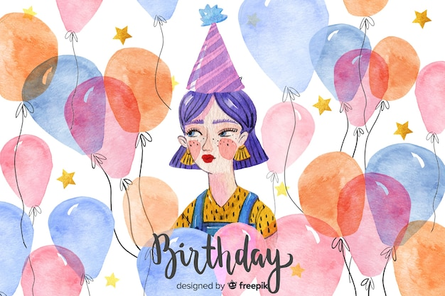 Feliz aniversário fundo aquarela
