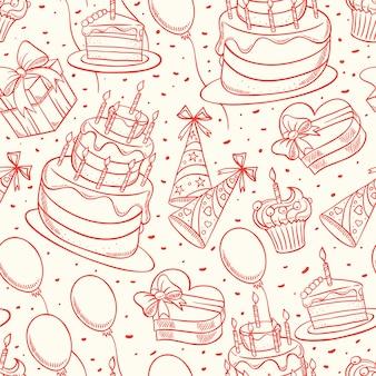 Feliz aniversário. fundo bonito sem costura com esboço de bolo de aniversário e presentes