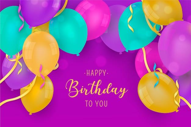 Feliz aniversário fundo com balões coloridos realistas