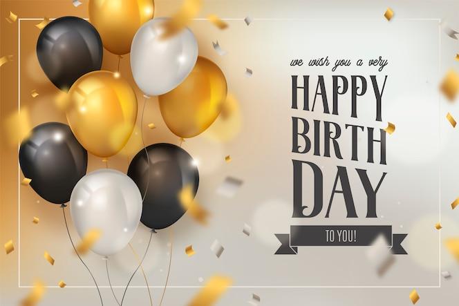 Feliz aniversário fundo com balões de luxo e confetes