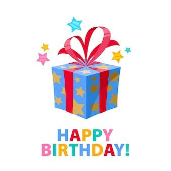 Feliz aniversário - fundo de carnaval de festa de celebração com caixa de presente e estrelas de confetes. convite ou cartão de felicitações.