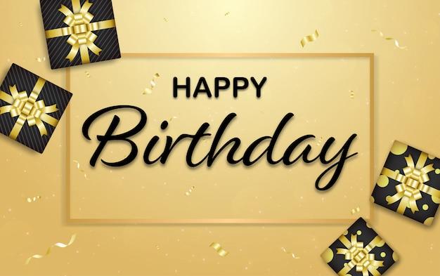 Feliz aniversário, fundo dourado com fita dourada