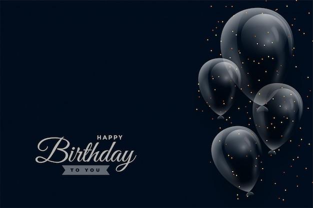 Feliz aniversário fundo escuro com balões brilhantes