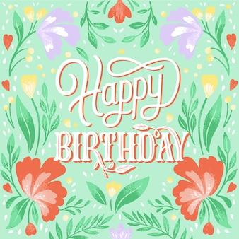 Feliz aniversário fundo floral