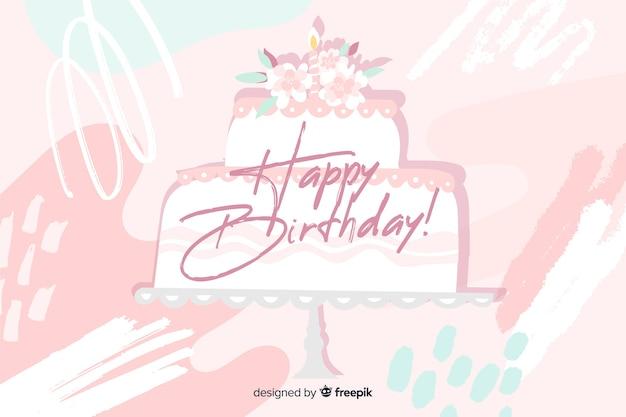 Feliz aniversário fundo na mão desenhada estilo