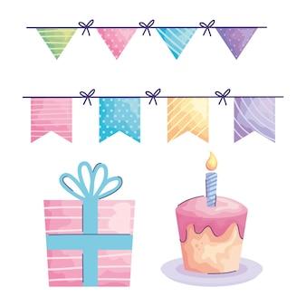Feliz aniversário guirlandas penduradas e ícones acuarela estilo ilustração design