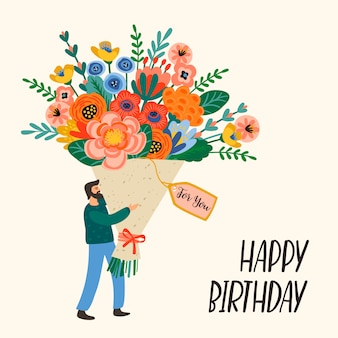 Feliz aniversário. homem bonito com buquê de flores.