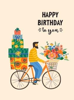Feliz aniversário. homem bonito em uma bicicleta com caixas de presente e buquê