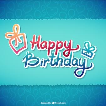 Feliz aniversário ilustração tipográfica
