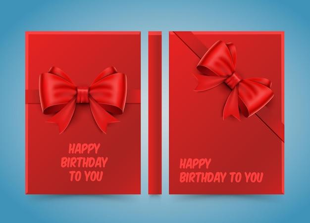 Feliz aniversário. laço em papel vermelho. banner road book. papel de tamanho a4, elemento de design de modelo, vetor