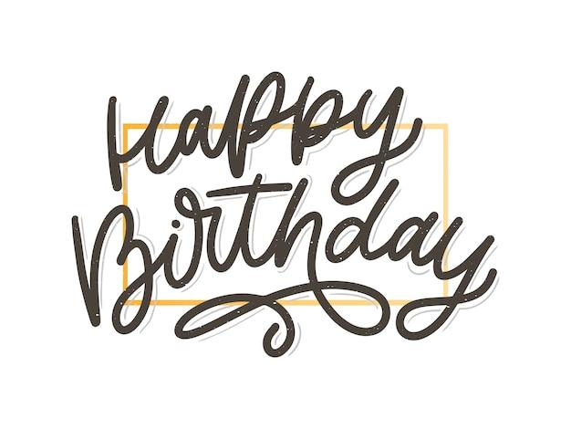 Feliz aniversário letras caligrafia escova vetor tipografia texto ilustração