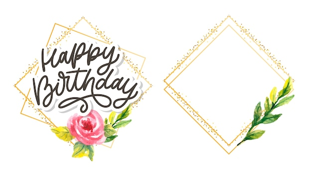Feliz aniversário letras caligrafia slogan flores