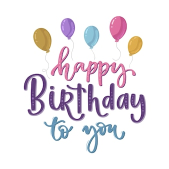 Feliz aniversário letras coloridas com balões