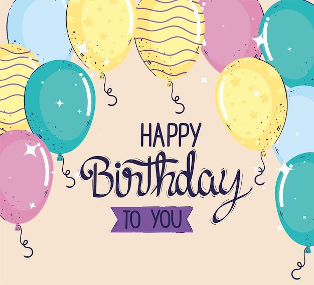 Feliz aniversário letras de celebração com ilustração de balões de hélio