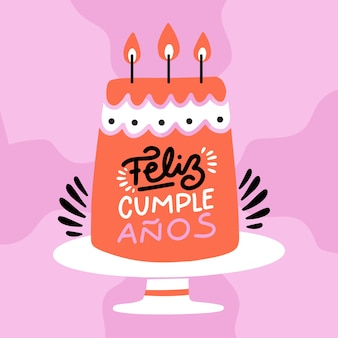 Feliz aniversário letras design plano