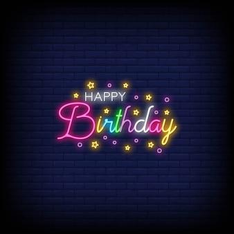 Feliz aniversário letras neon texto vector. feliz aniversário sinal de néon
