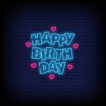 Feliz aniversário letras néon texto