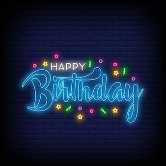 Feliz aniversário letras vetor de texto de néon