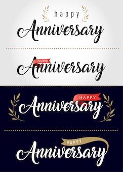 Feliz aniversário lettering banner de texto