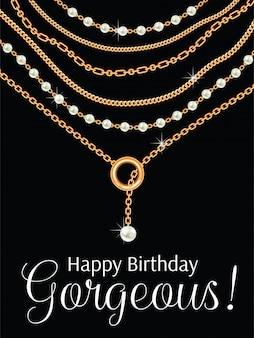 Feliz aniversário linda. design de cartão com peras e correntes colar metálico dourado.