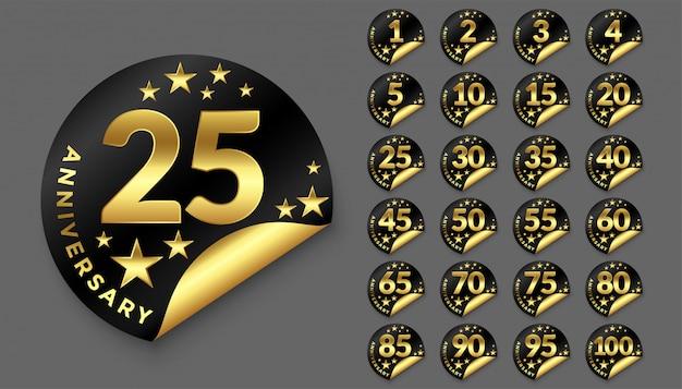 Feliz aniversário logotipo dourado distintivos grande coleção