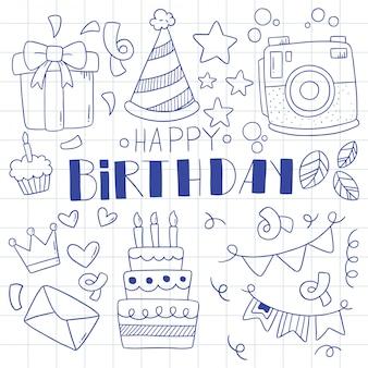 Feliz aniversário mão desenhada doodle ornamentos