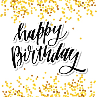 Feliz aniversário mão desenhada vector design de letras