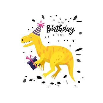 Feliz aniversário mão lettering texto. elementos de festa de aniversário de ilustração vetorial bonito para cartaz, cartão de felicitações, modelo de banner.