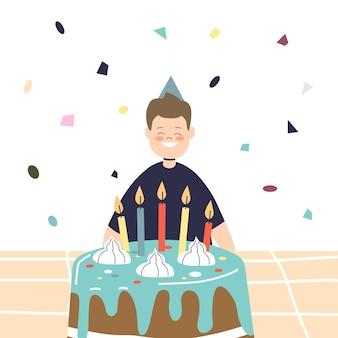 Feliz aniversário menino sentado em frente ao bolo festivo com velas alegres sorrindo usando chapéu de cone de celebração. criança segurando o conceito de festa. ilustração em vetor plana dos desenhos animados