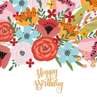 Feliz aniversário. modelo de cartão postal com giro mão desenhando buquê brilhante de flores