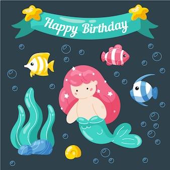 Feliz aniversário. modelo pequeno bonito do cartão de aniversário da sereia e da vida marinha.