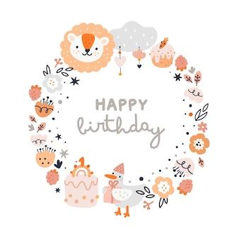 Feliz aniversário moldura redonda para crianças