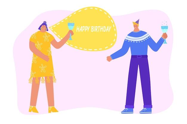 Feliz aniversário. mulher deseja um feliz aniversário a um homem. as pessoas bebem champanhe. ilustração
