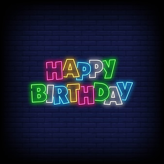 Feliz aniversário, néon, sinais
