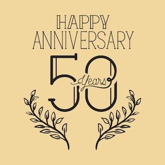 Feliz aniversário número cinquenta com coroa de grinalda