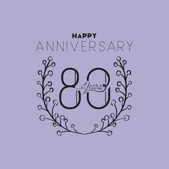 Feliz aniversário número oitenta com coroa de grinalda