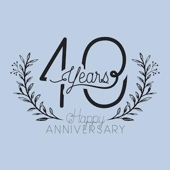 Feliz aniversário número quarenta com coroa de grinalda
