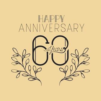 Feliz aniversário número sessenta com coroa de grinalda